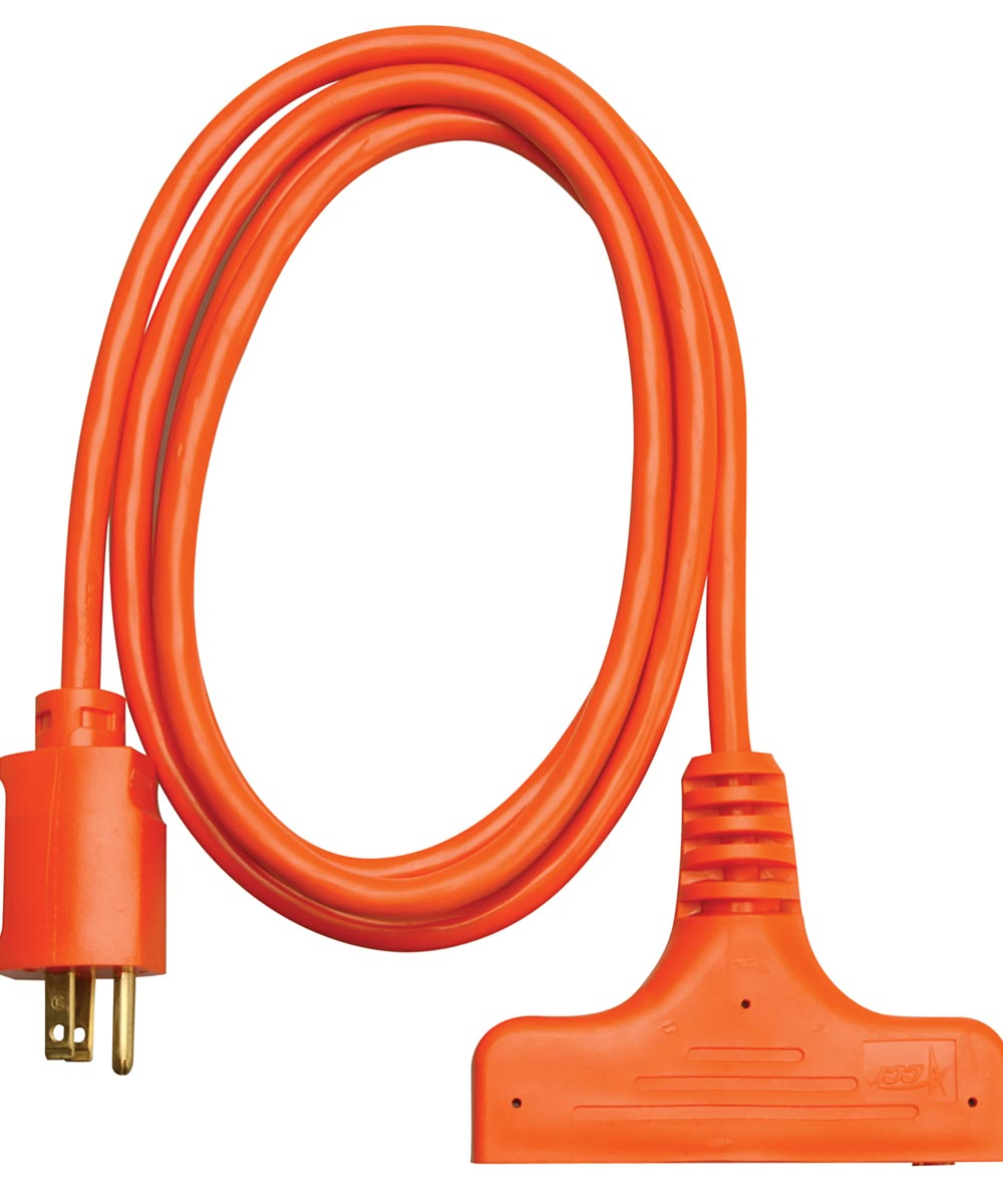 6 ft. 14/3 Orange 3-Way Power Block Multi-Outlet Extension Cord