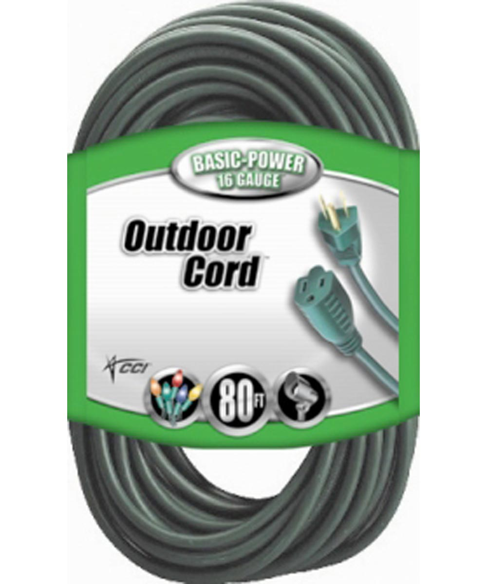 80 ft. 16/3 Green 3 Conductor Vinyl Outdoor Landscape Ext Cord