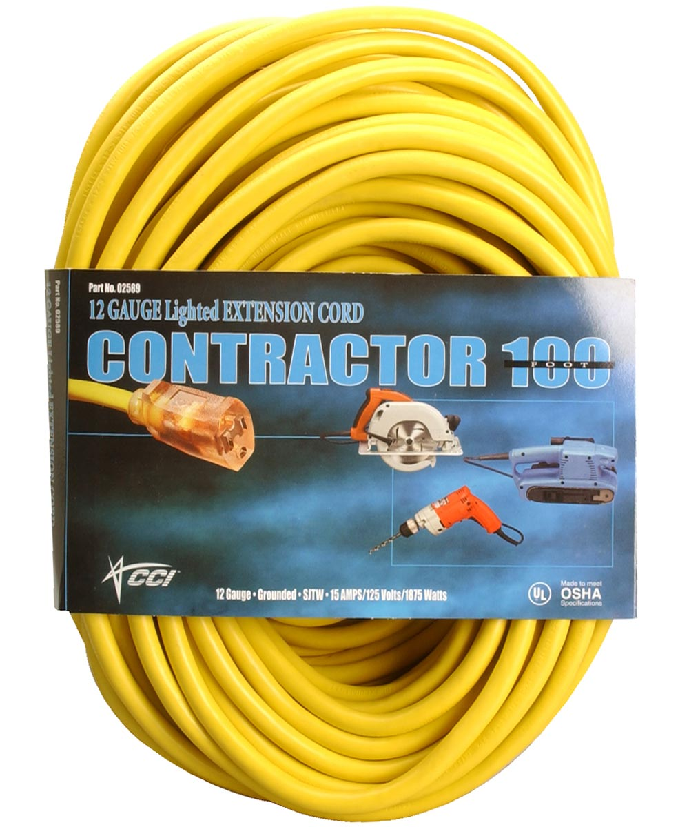 100 ft. 12/3 Yellow Extension Cord