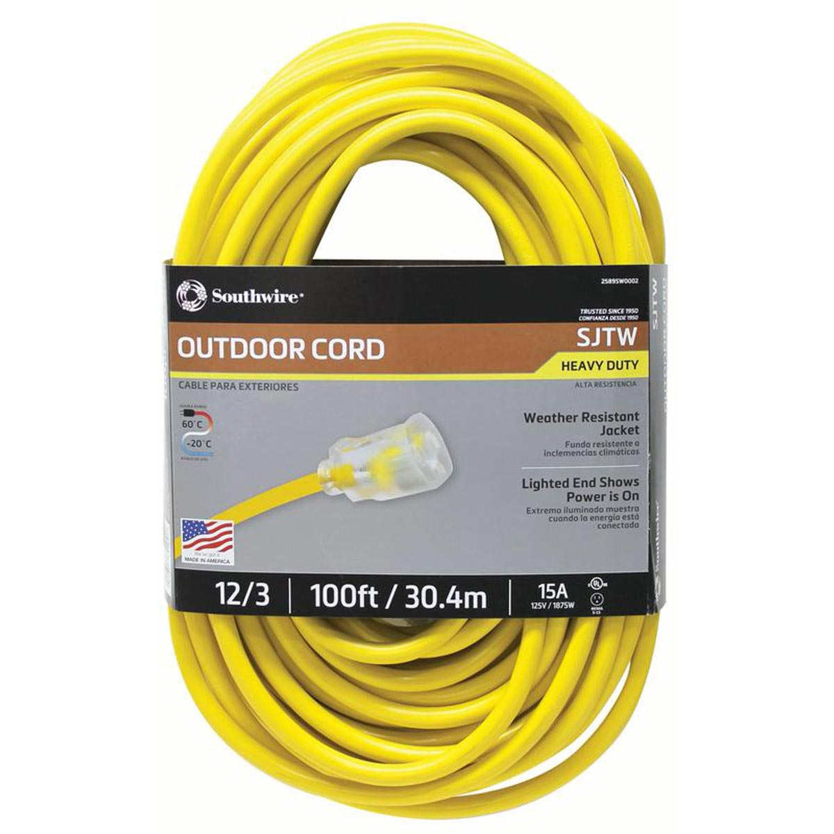 Southwire 100 ft. 12/3 SJTW 15 Amp Heavy-Duty Outdoor Extension Cord with Lighted Power End