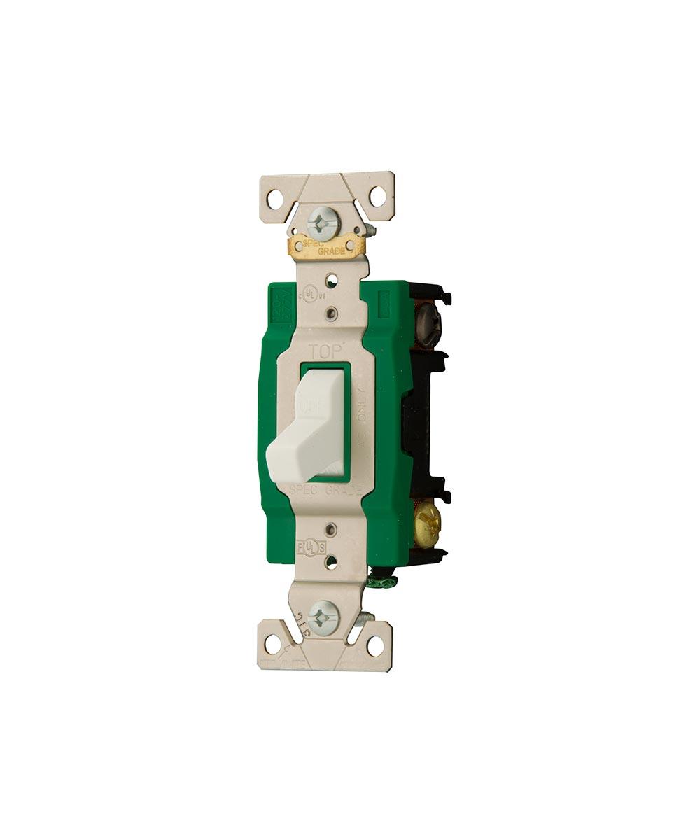 Double-Pole Toggle Switch, 30A, 120/277V/AC, White