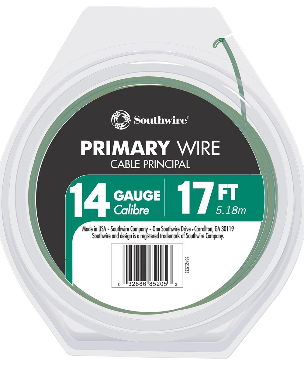 14/19 AWG 17 ft. Green Stranded Primary Auto Wire