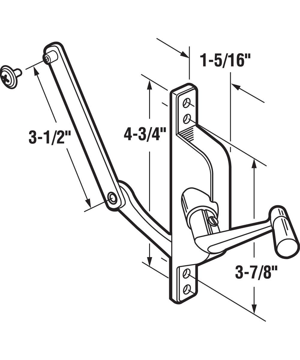 Jalousie Operator, 3-1/2 inch Link, Aluminum, Crank Handle,  1 per pkg.