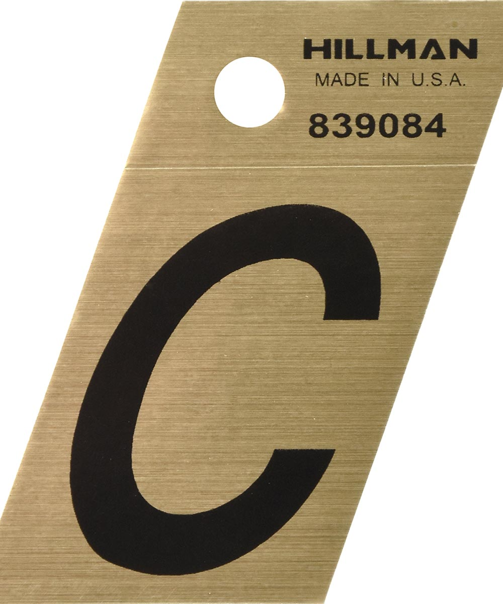 1.5 in. Black and Gold Adhesive Letter C, Angle Cut Mylar