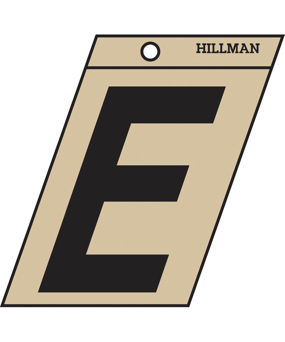 1.5 in. Black and Gold Adhesive Letter E, Angle Cut Mylar