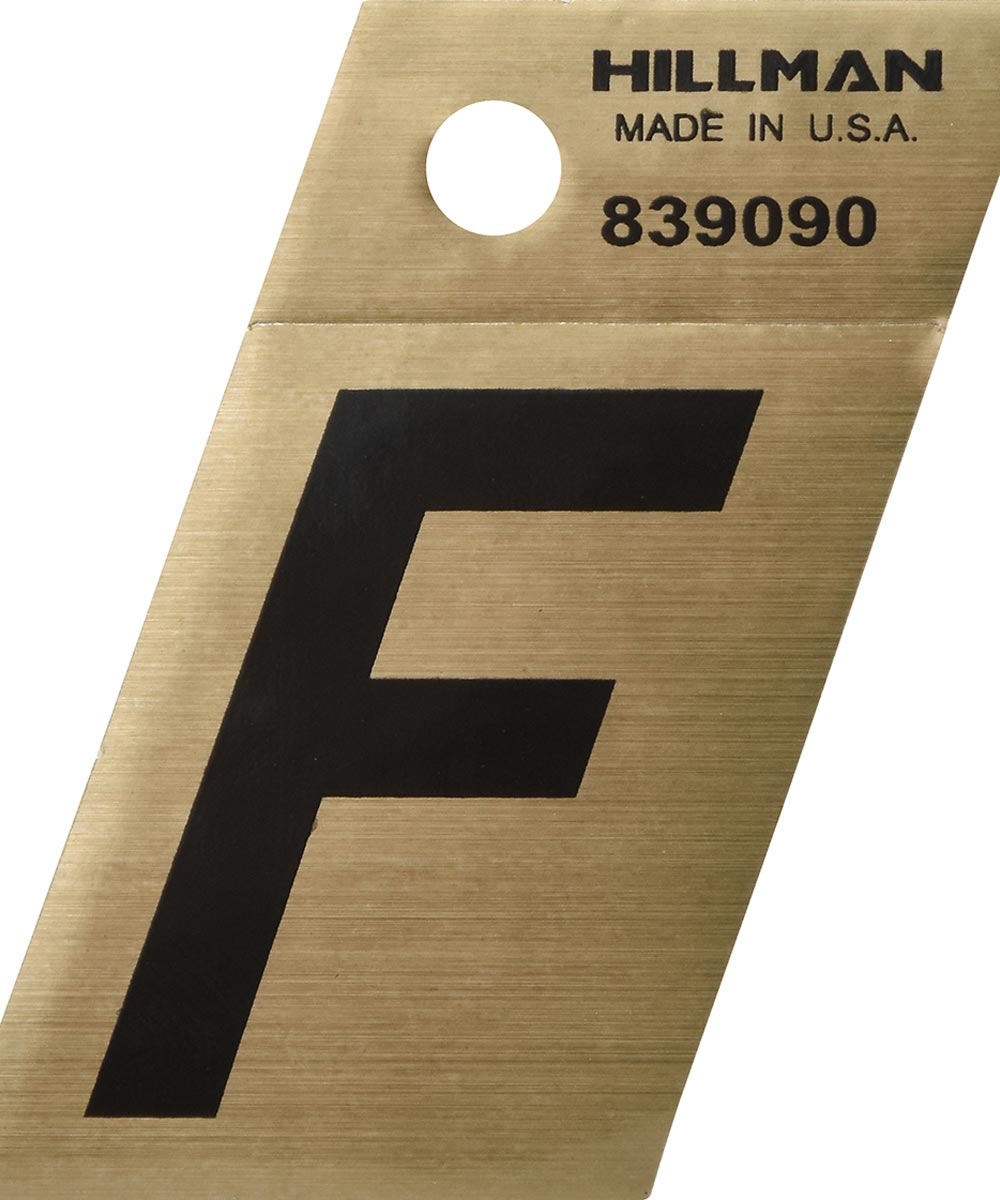 1.5 in. Black and Gold Adhesive Letter F, Angle Cut Mylar