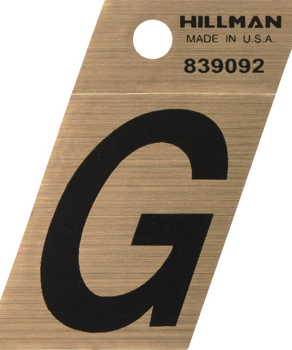 1.5 in. Black and Gold Adhesive Letter G, Angle Cut Mylar