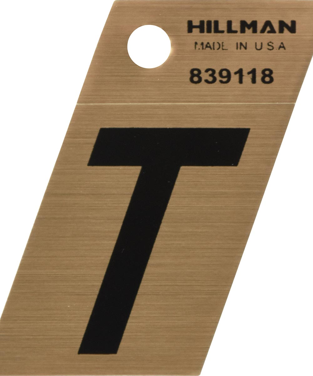 1.5 in. Black and Gold Adhesive Letter T, Angle Cut Mylar