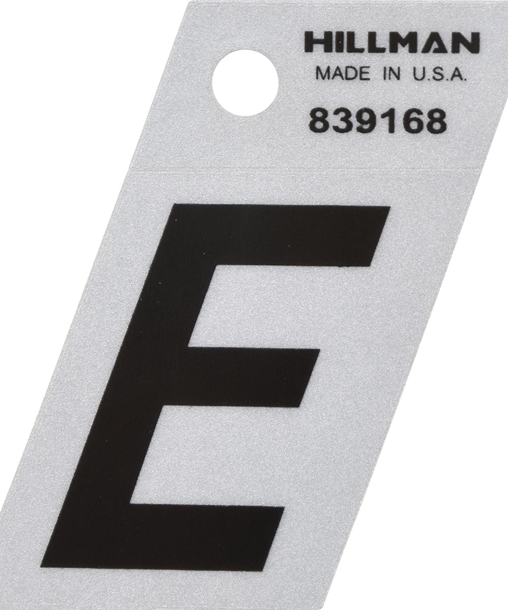 1.5 in. Black and Silver Reflective Adhesive Letter E