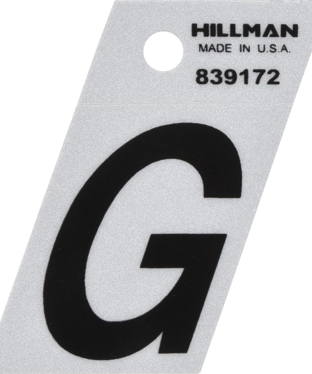 1.5 in. Black and Silver Reflective Adhesive Letter G