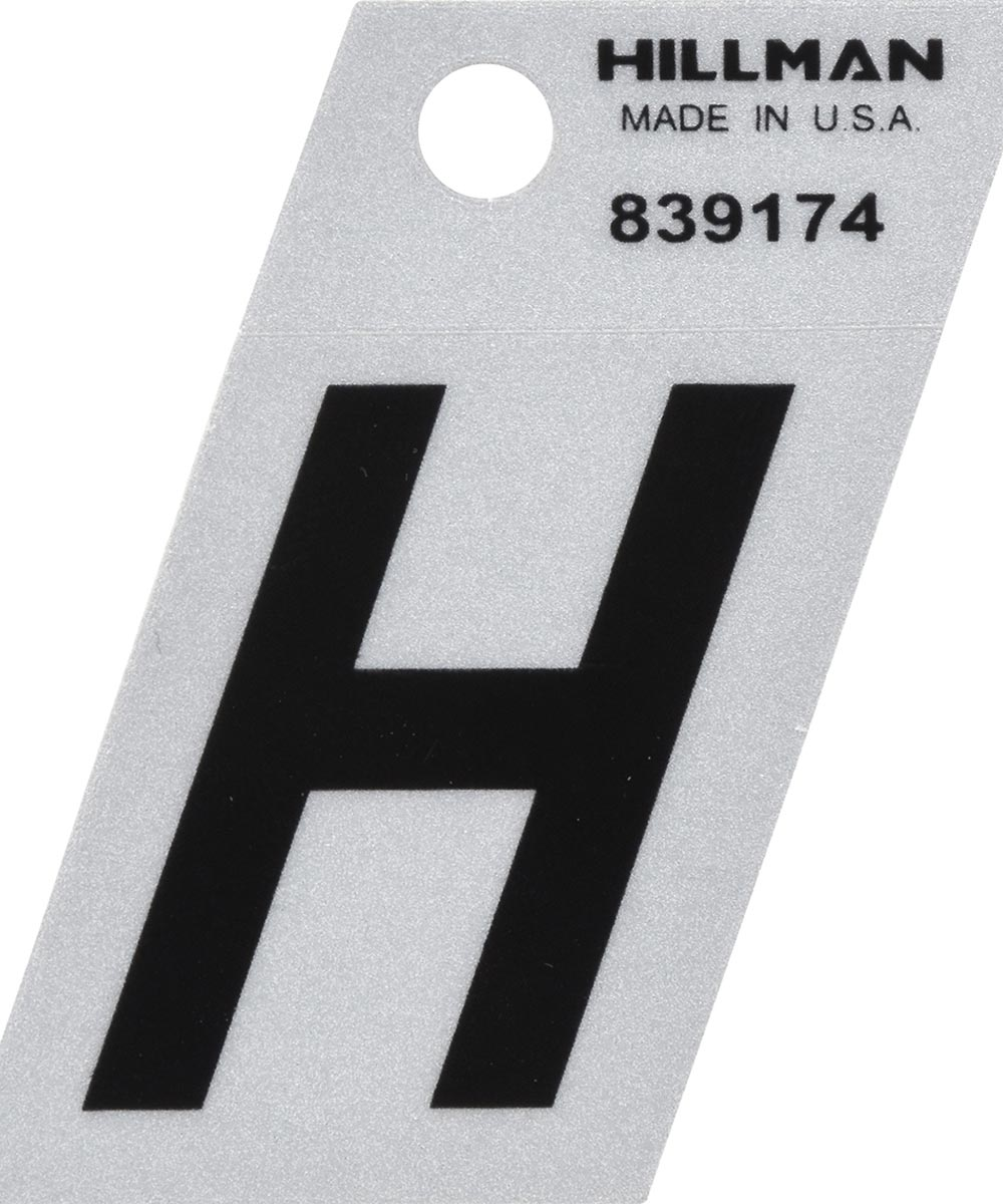 1.5 in. Black and Silver Reflective Adhesive Letter H