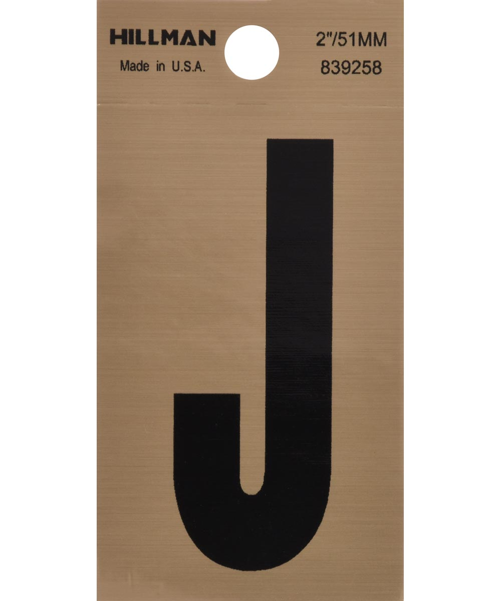 2 in. Black and Gold Adhesive Letter J, Square Cut Mylar