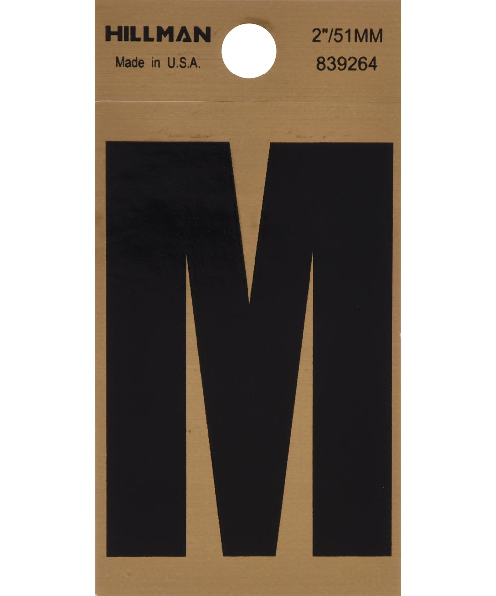 2 in. Black and Gold Adhesive Letter M, Square Cut Mylar