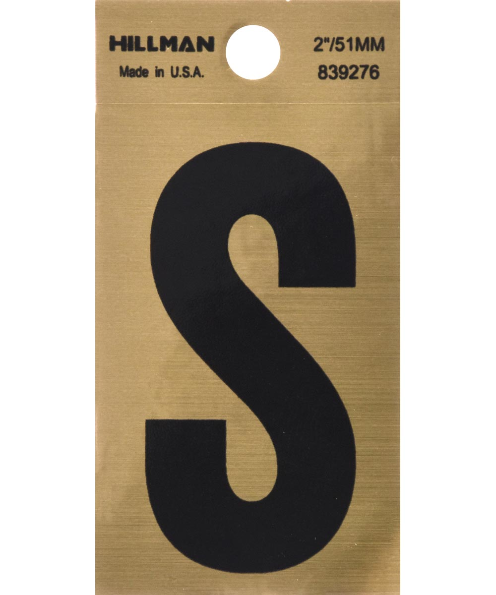2 in. Black and Gold Adhesive Letter S, Square Cut Mylar