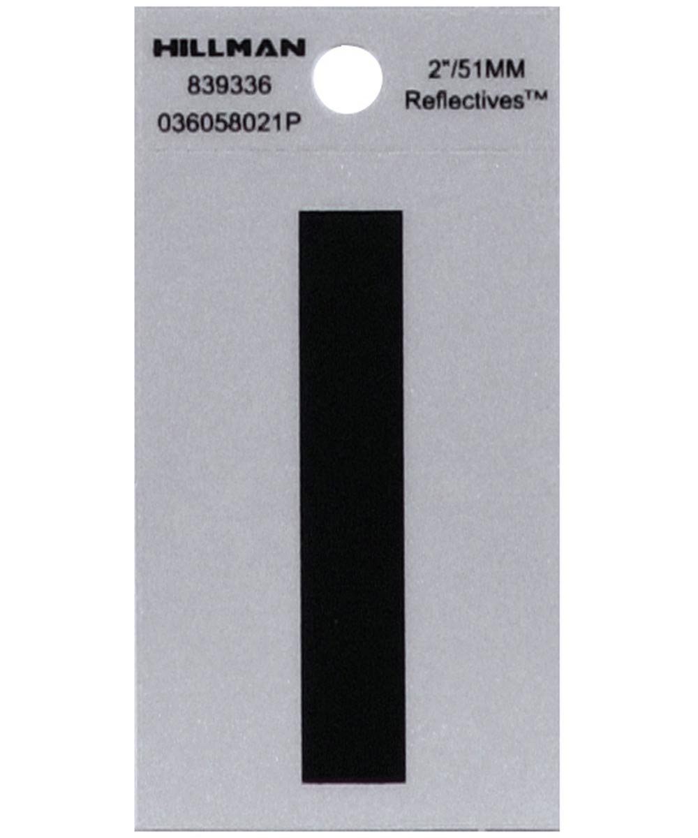2 in. Black and Silver Reflective Adhesive Letter I, Square Cut Mylar