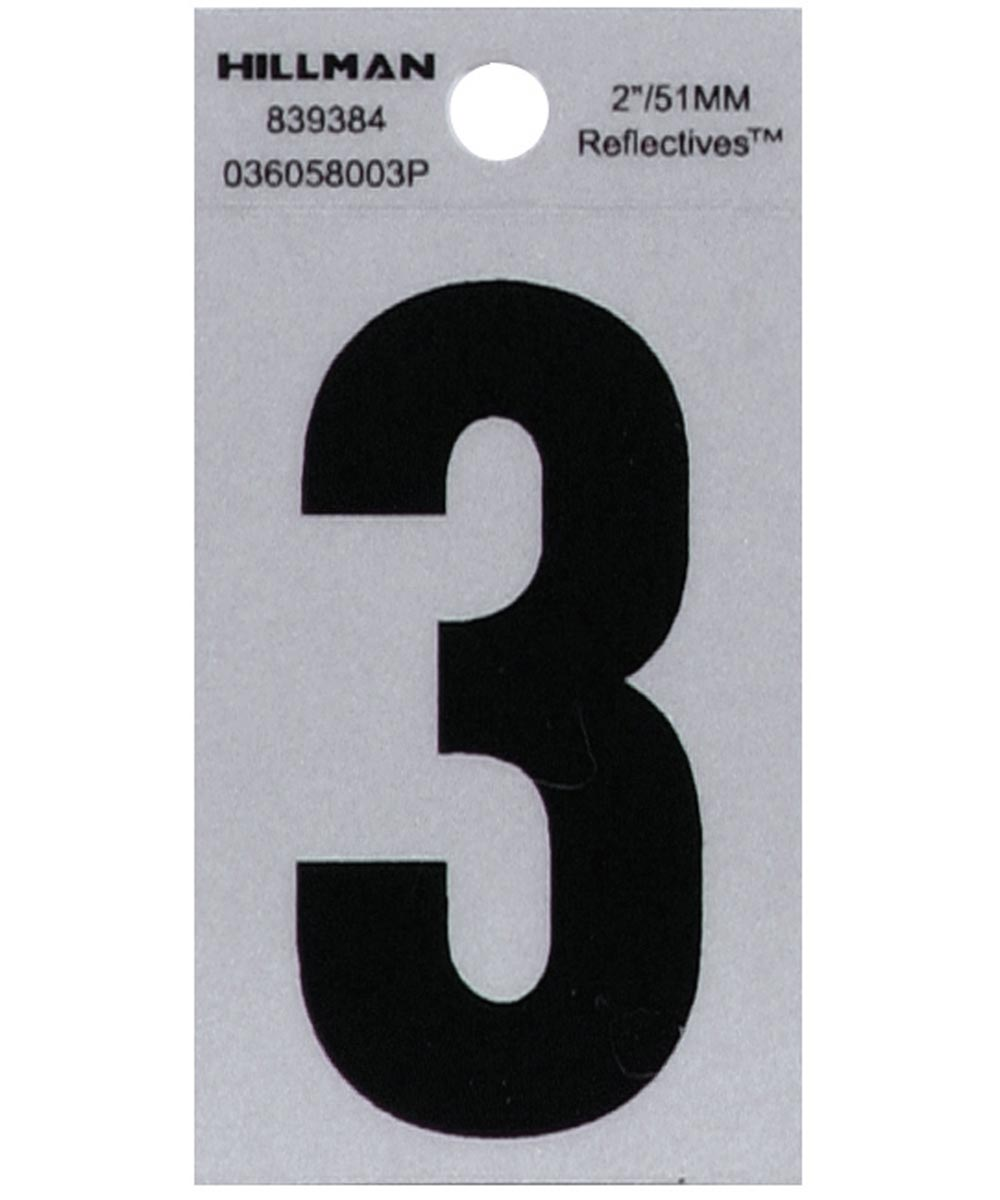 2 in. Black and Silver Reflective Adhesive Number 3, Square Cut Mylar