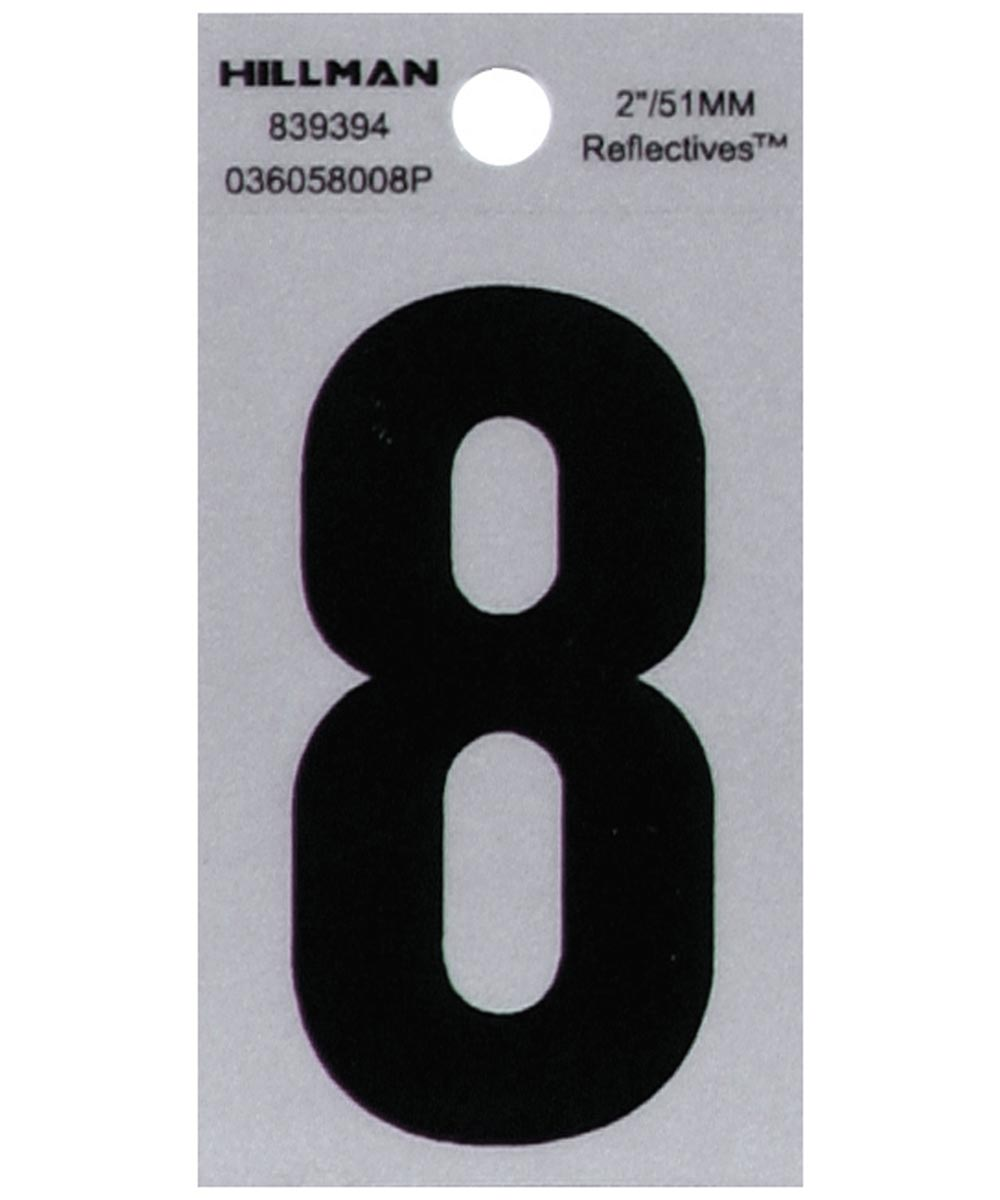 2 in. Black and Silver Reflective Adhesive Number 8, Square Cut Mylar
