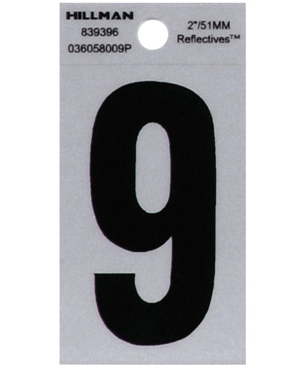 2 in. Black and Silver Reflective Adhesive Number 9, Square Cut Mylar