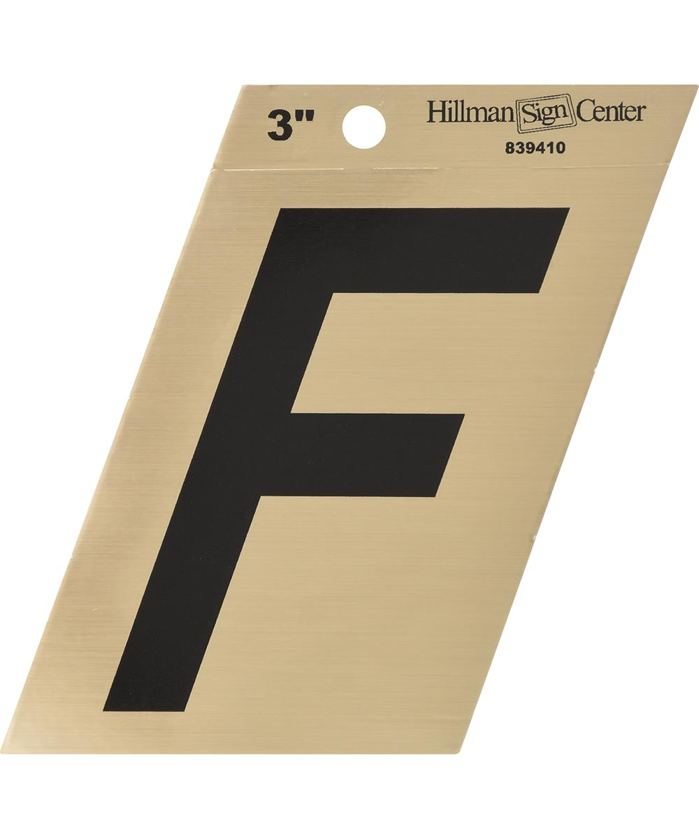 3 in. Black and Gold Adhesive Letter F, Angle Cut Mylar