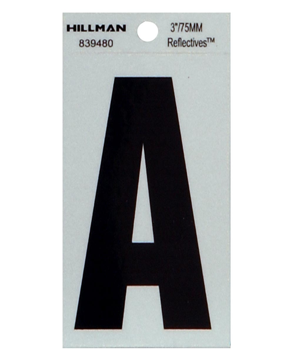 3 in. Black and Silver Thin Adhesive Letter A