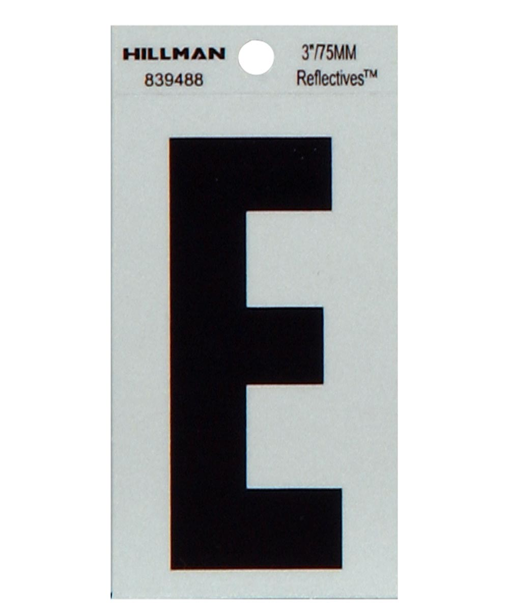 3 in. Black and Silver Thin Adhesive Letter E