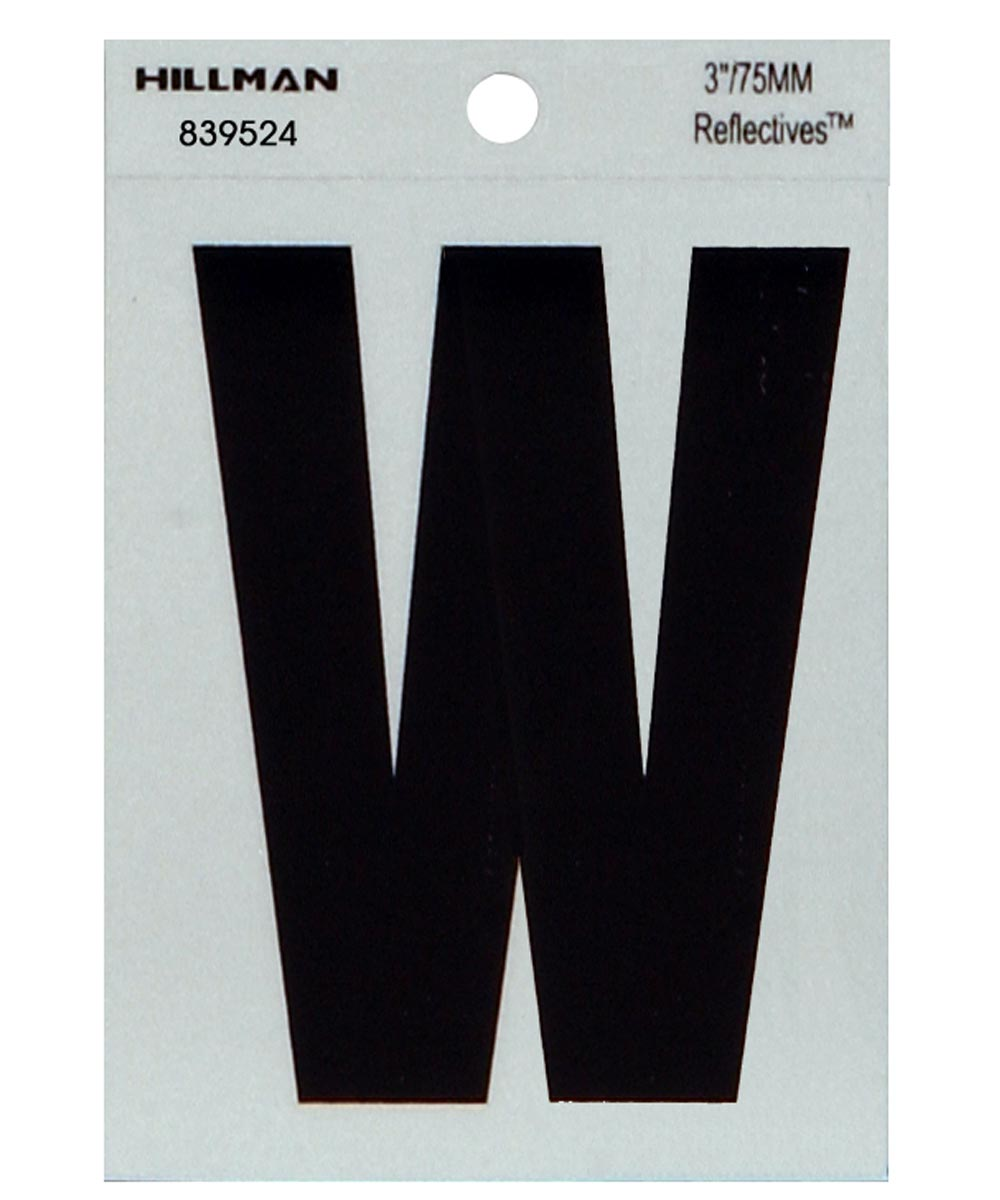 3 in. Black and Silver Thin Adhesive Letter W