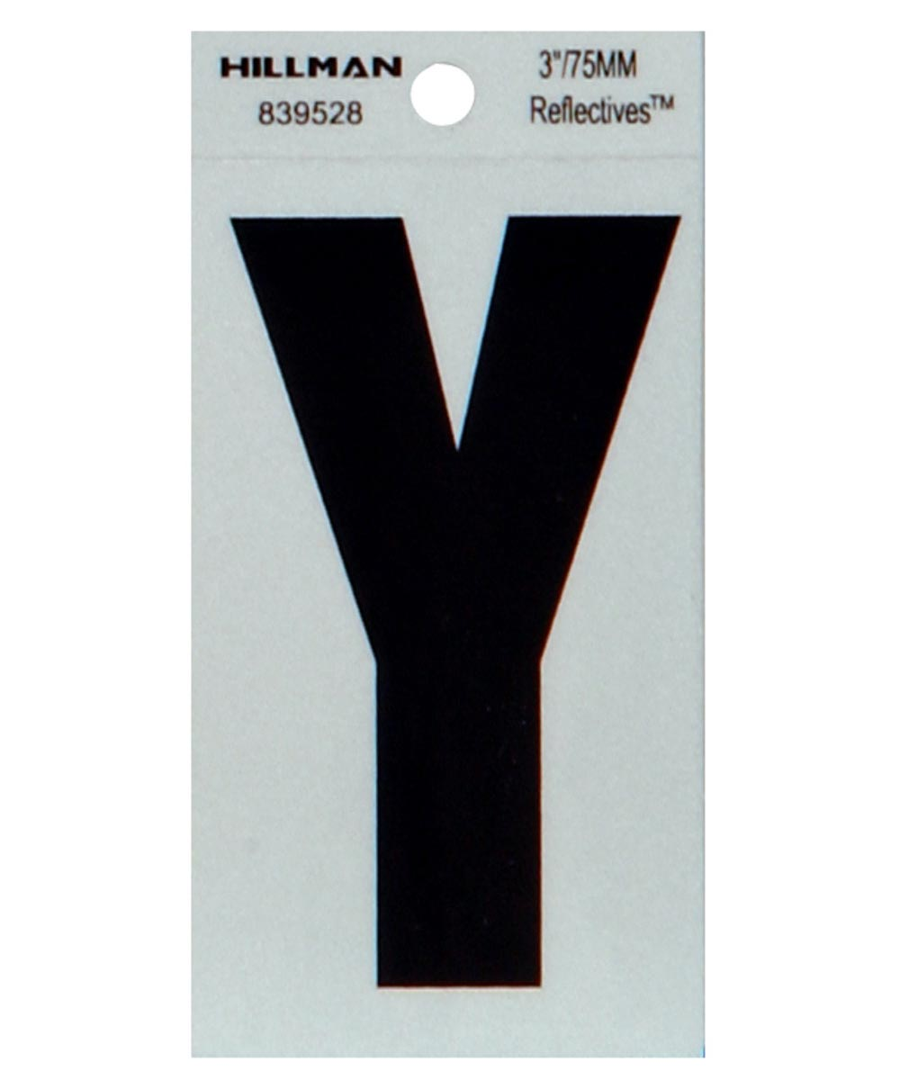 3 in. Black and Silver Thin Adhesive Letter Y
