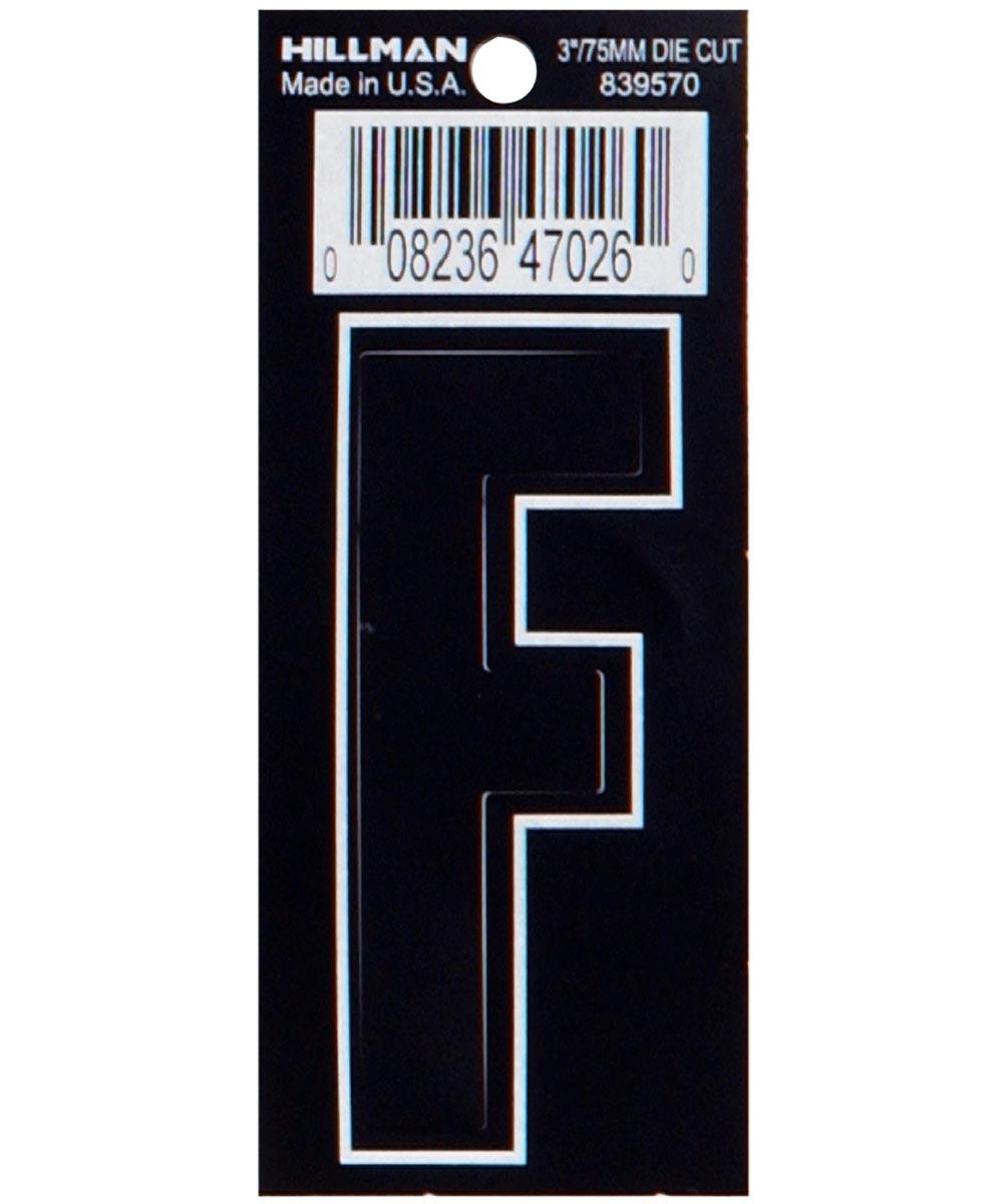 3 in. Die-Cut Black Adhesive Letter F