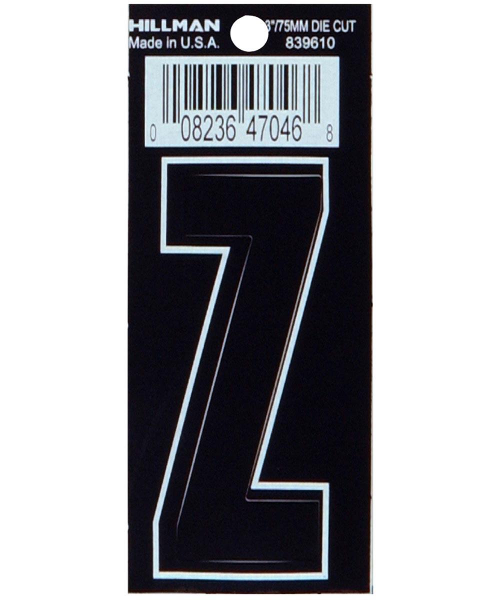 3 in. Die-Cut Black Adhesive Letter Z