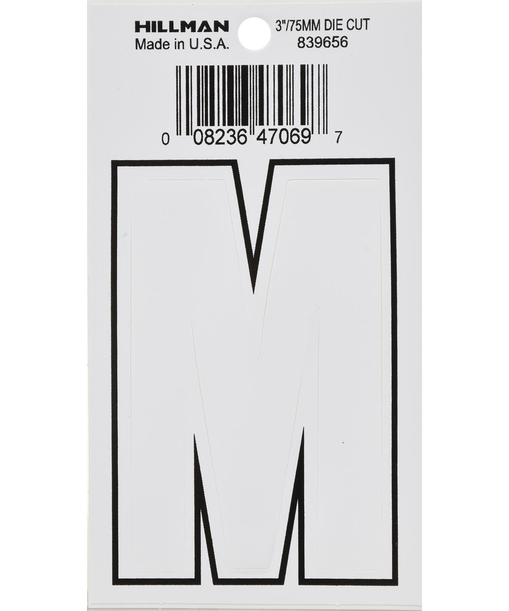 3 in. White Adhesive Letter M