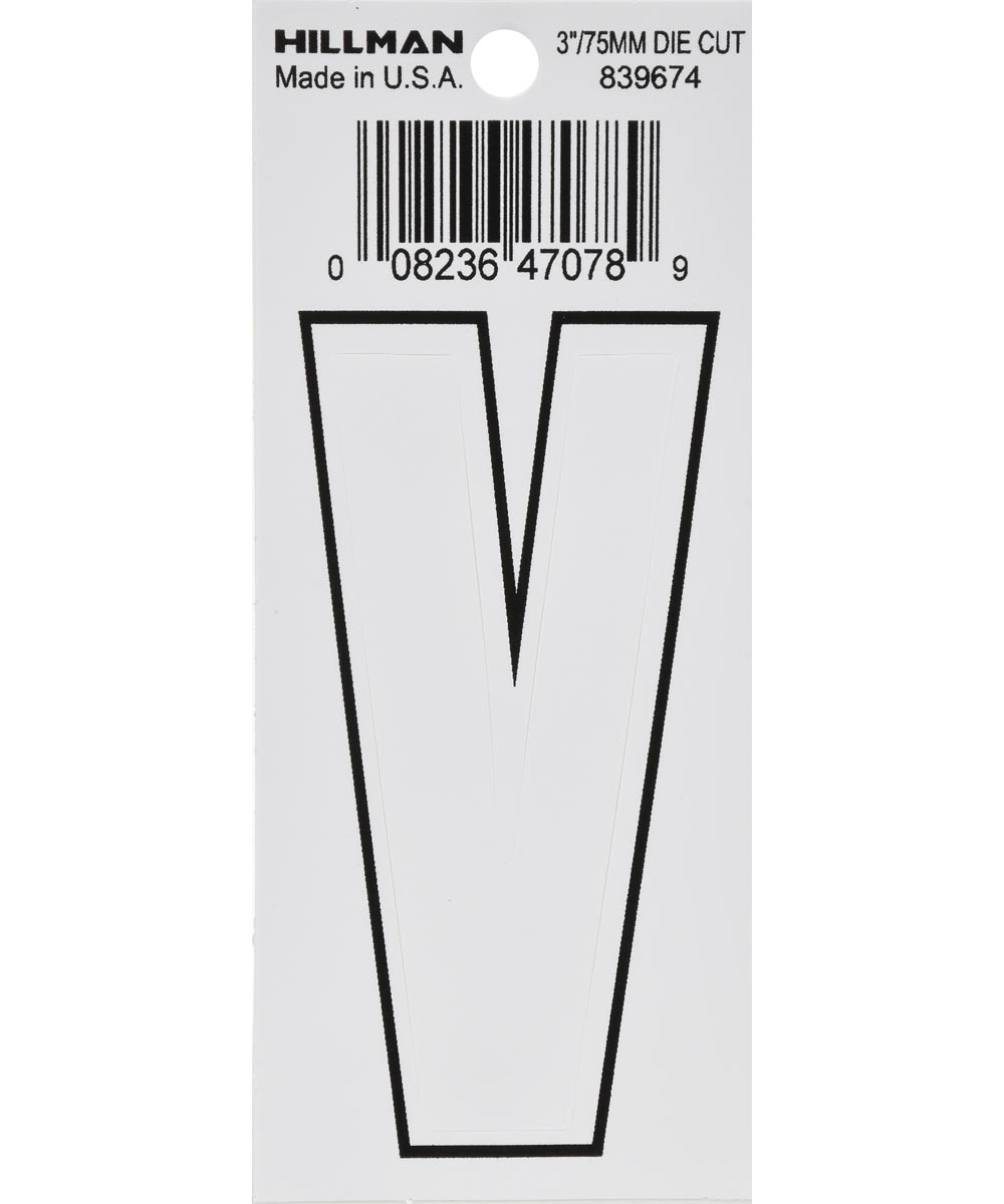 3 in. White Adhesive Letter V