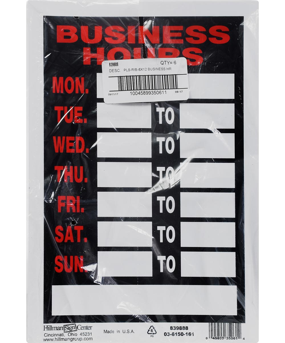 Red and Black Business Hours Sign 8 in. X 12 in.