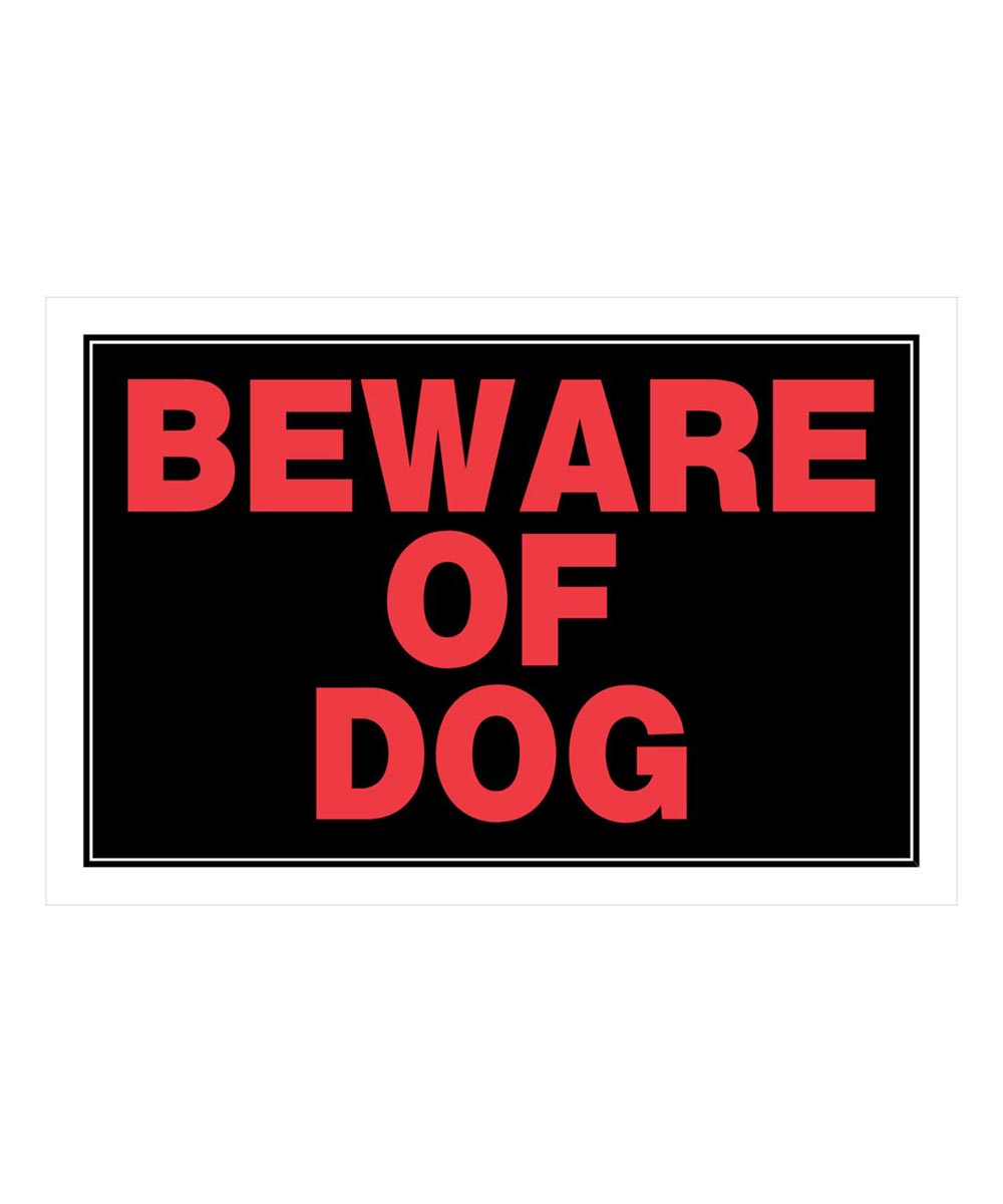 Black Beware of Dog Sign 8 in. x 12 in.