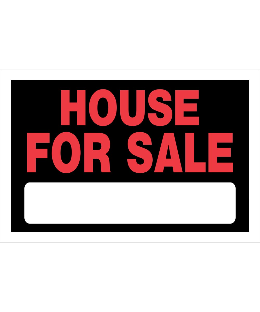 House For Sale Red and Black Sign 8 in. x 12 in.