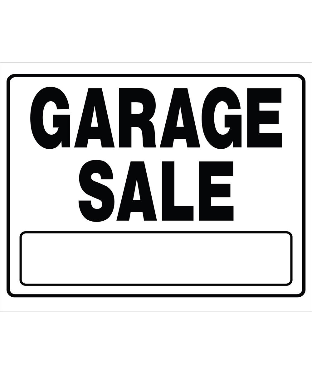 Garage Sale Sign, 20 x 24, Corrugated Plastic