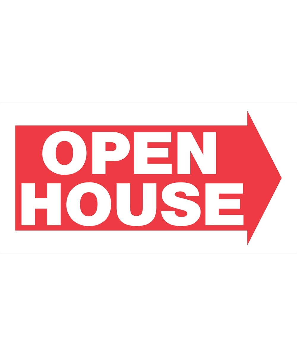 Corrugated Plastic Open House Red and White Sign 12 in. x 24 in.