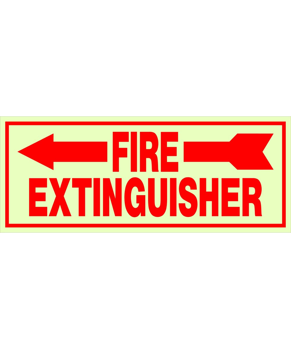 Adhesive Glow-in-the-Dark Fire Extinguisher Left Sign 4 in. X 10 in.