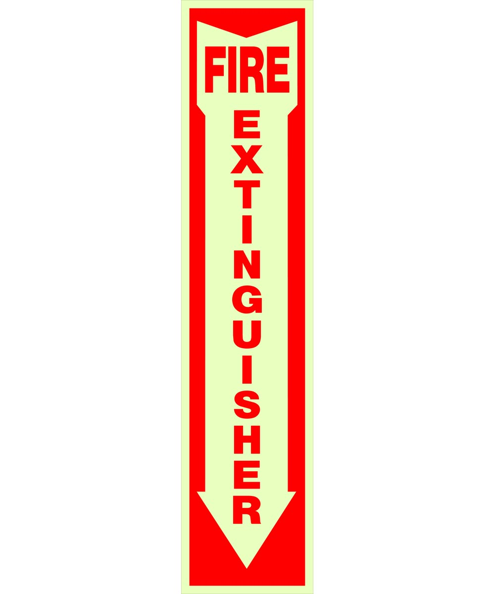 Adhesive Glow-in-the-Dark Fire Extinguisher Arrow Sign 4 in. X 18 in.