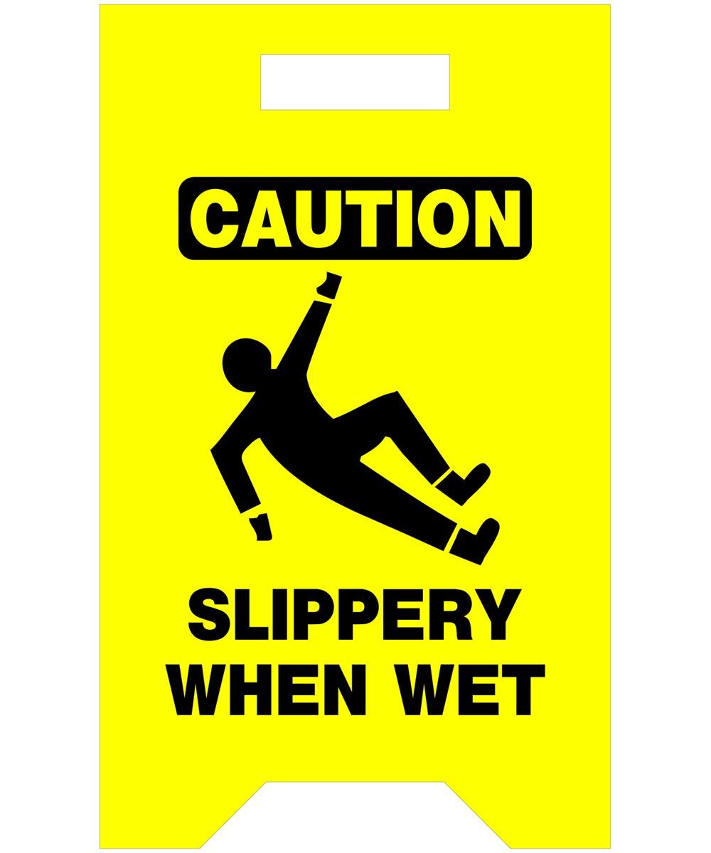Caution Slippery When Wet Saftey Floor Sign