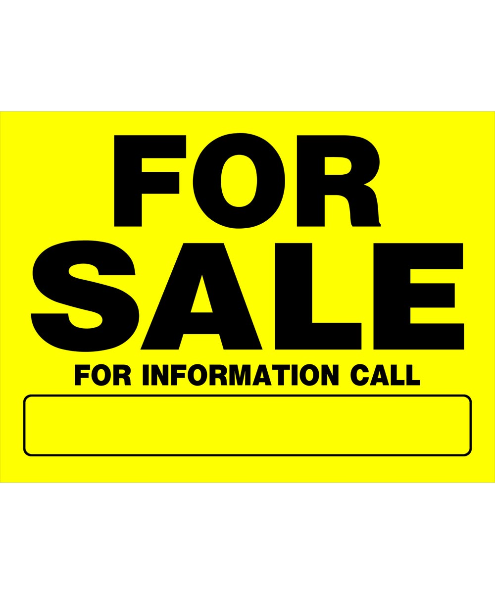 For Sale Black and Yellow Sign 12 in. x 16 in.
