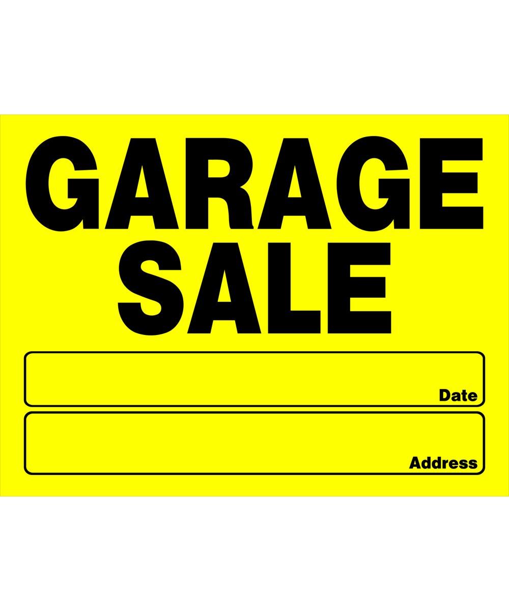 Garage Sale Sign, 12 x 16, Plastic