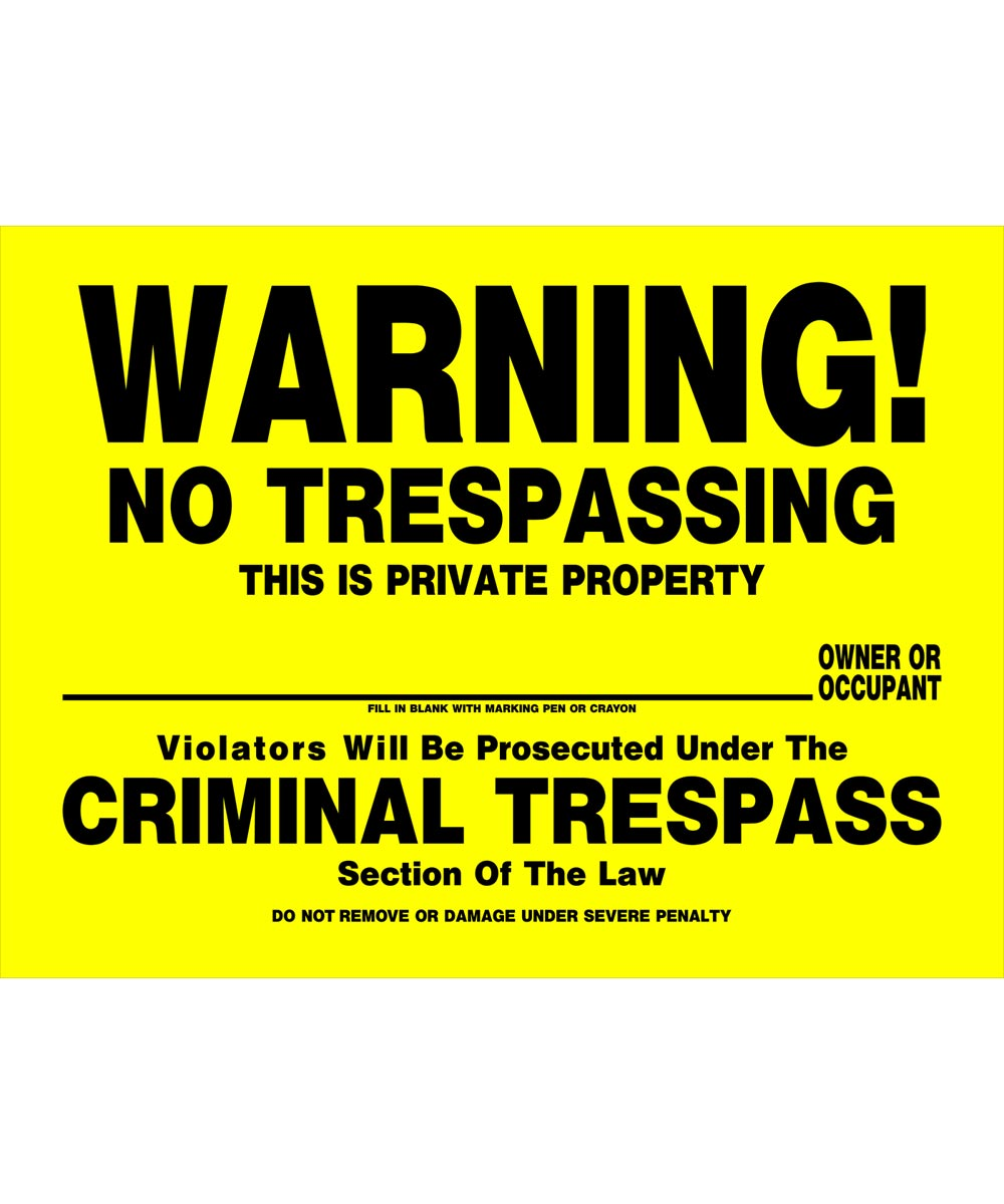 No Trespassing Sign, 12 x 16, Plastic