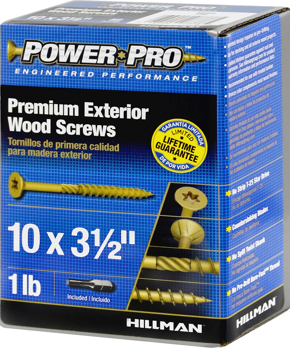 Power Pro Outdoor Wood Screw #10 x 3-1/2 in., 1 lb. Box