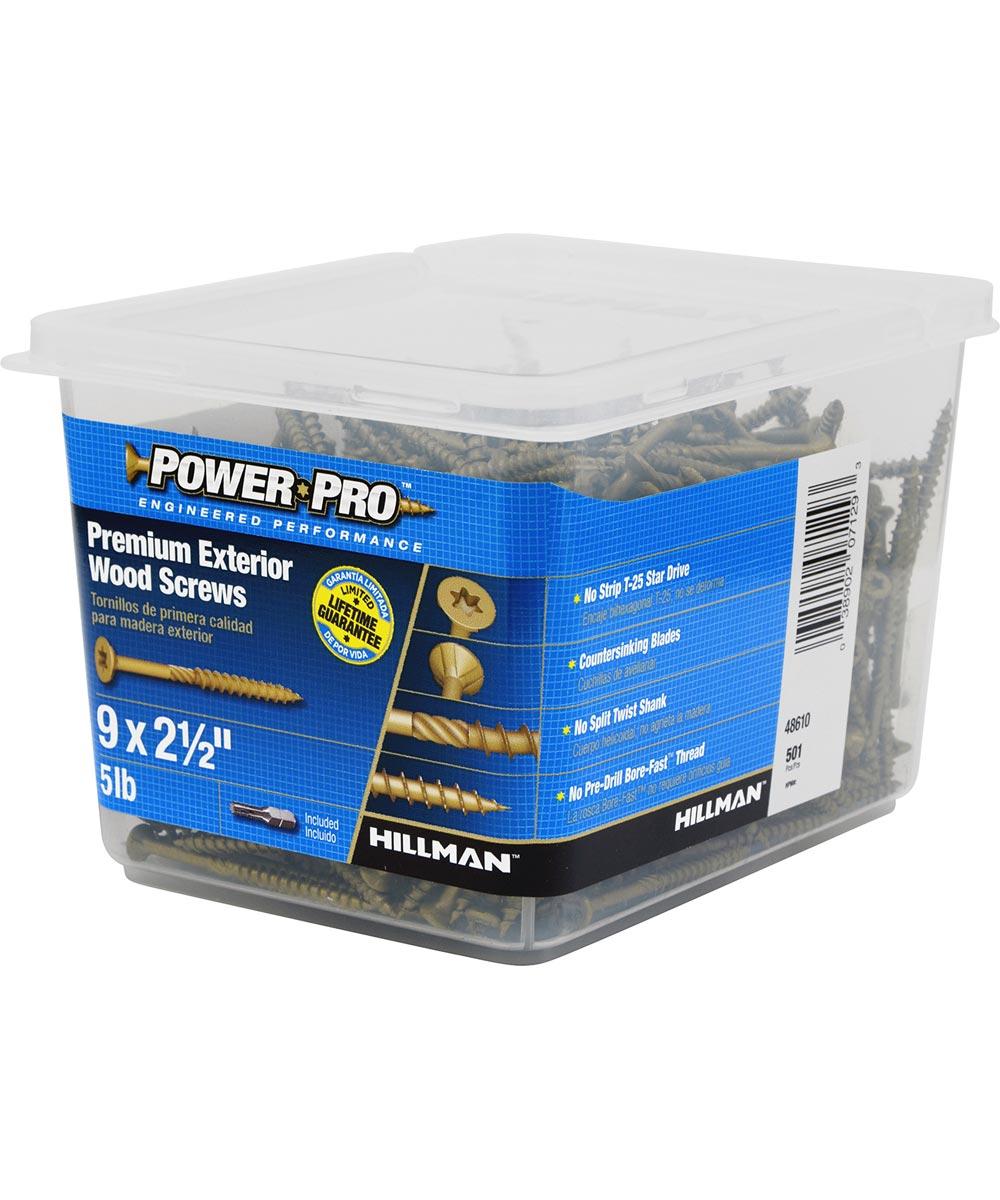 Power Pro Outdoor Wood Screw #9 x 2-1/2 in., 5 lb. Box