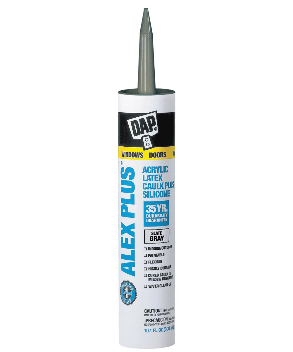 Alex Plus Slate Gray Acrylic Latex Caulk Plus Silicone, 10.1 oz.