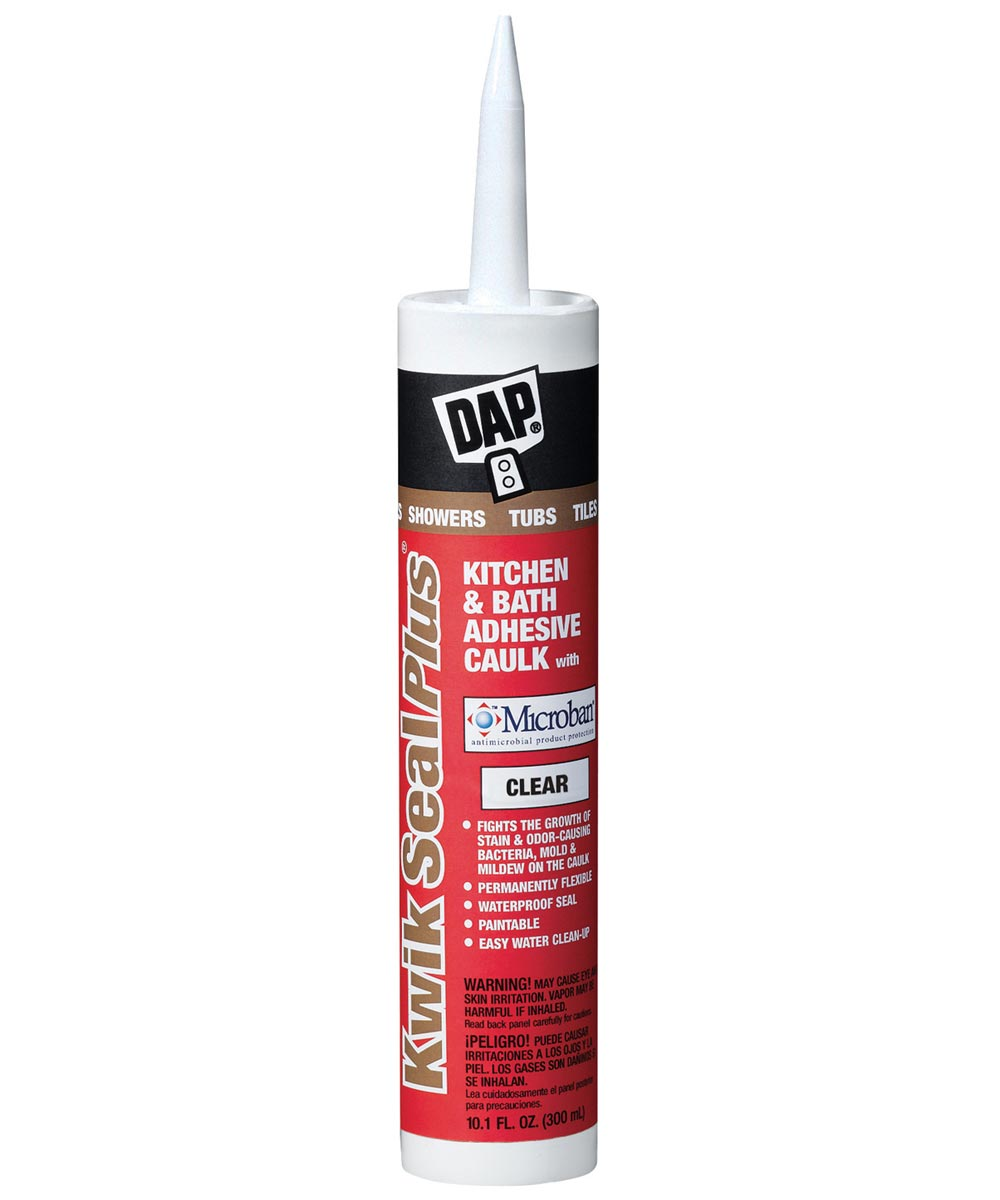 Kwik Seal Plus Clear Kitchen & Bath Adhesive Caulk Sealant with Microban, 10.1 oz.