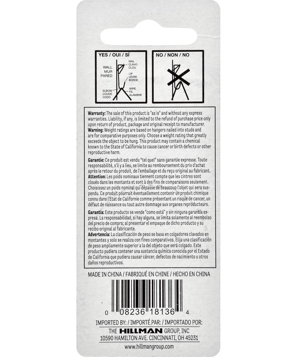 Zinc Conventional Picture Hanger 100 lbs., Pack of 4