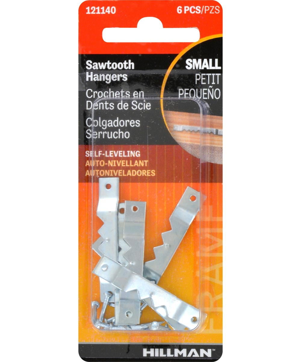 OOK Small Self-Leveling Sawtooth Hanger, Pack of 6