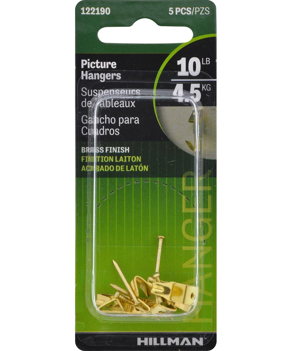 Brass Professional Picture Hangers 10lb 5 Pack