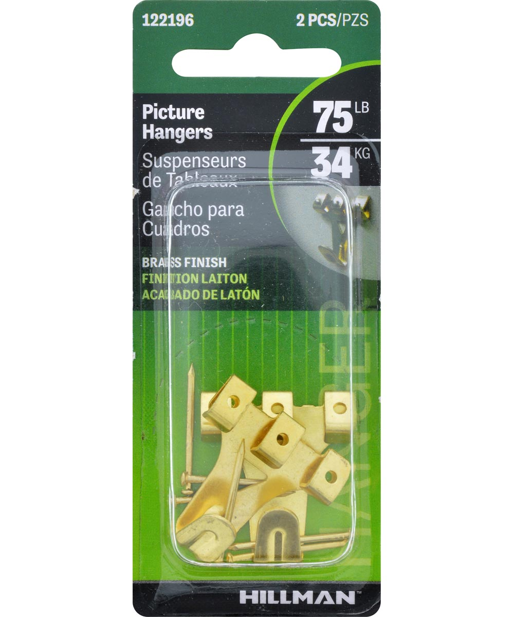 Brass Professional Picture Hangers 75lb 2 Pack